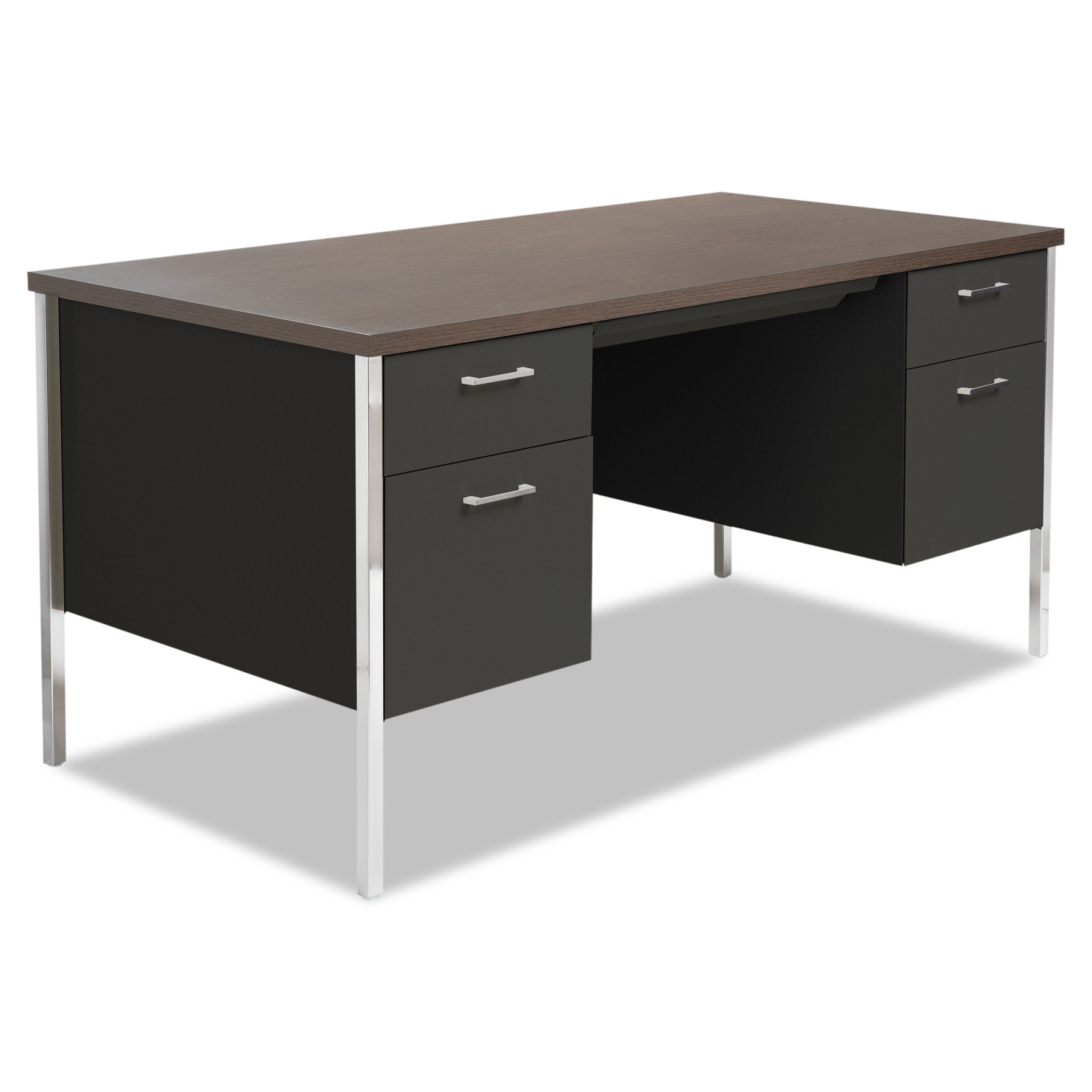 Alera Double Pedestal Steel Desk, Metal Desk, 60w x 30d x 29-1/2h, Walnut/Black