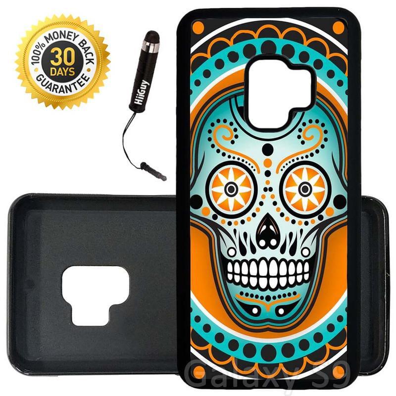 Custom Galaxy S9 Case (Sugar Skull Orange Teal) Edge-to-Edge Rubber Black Cover Ultra Slim | Lightweight | Includes Stylus Pen by Innosub