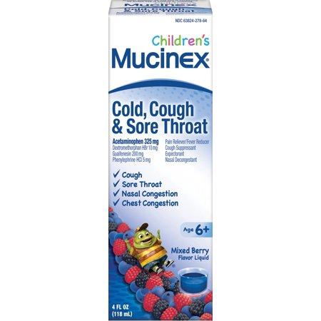Childrens Cough - Mucinex Childrens Cold, Cough, & Sore Throat Liquid, Mixed Berry, 4oz