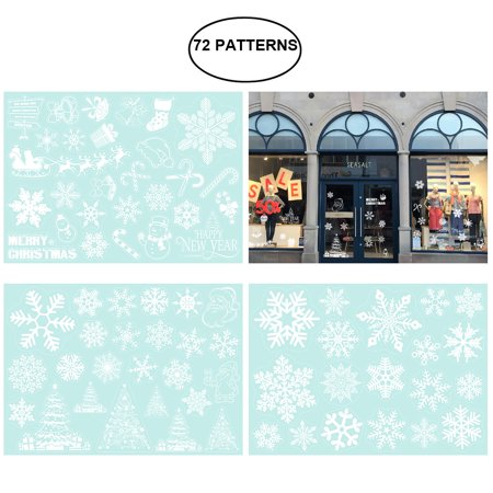 TINKSKY 3 Sheets 72 Patterns Christmas Snowflakes Candy Cane Snowman Decoration Removable PVC Wall Window Door Mural Decal Sticker for Retail Store Coffee House Restaurant Supermarket Dress Shop ()