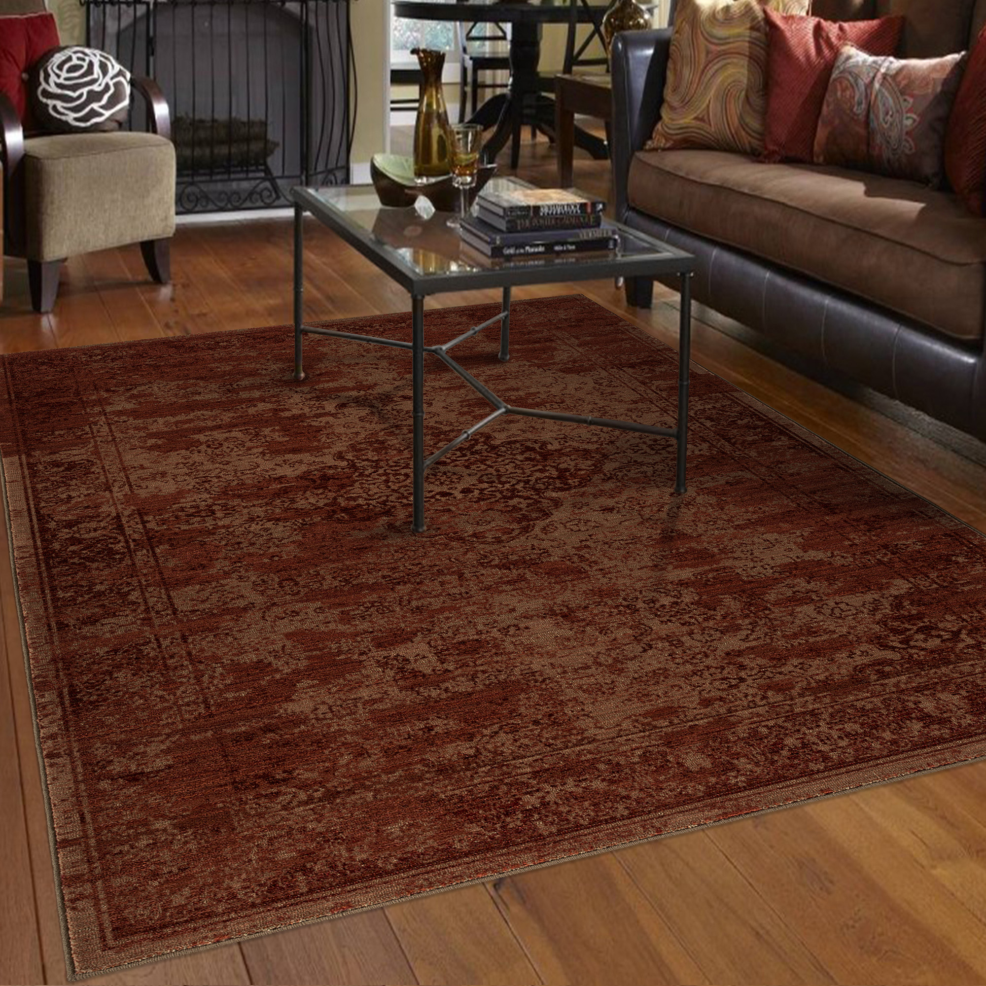 Orian Rugs Faded Damask Traditional Red Area Rug