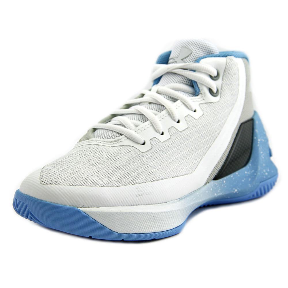 Under Armour PS Curry 3 Youth  Round Toe Canvas White Bas...