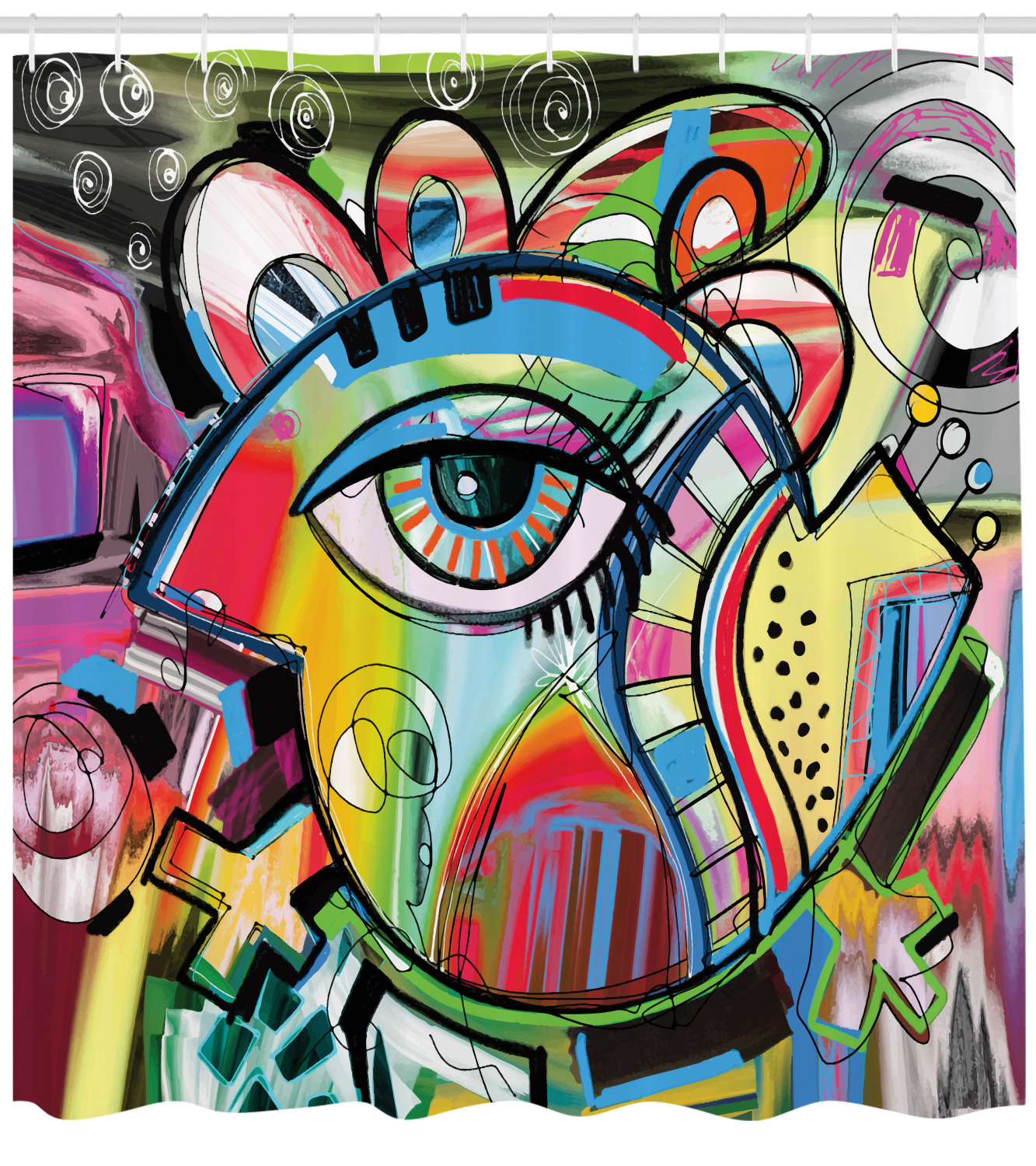 Contemporary Shower Curtain Lively Colored Hand Drawn Style Artwork Abstract Composition With An Eye Motif Fabric Bathroom Set With Hooks 69w X 84l