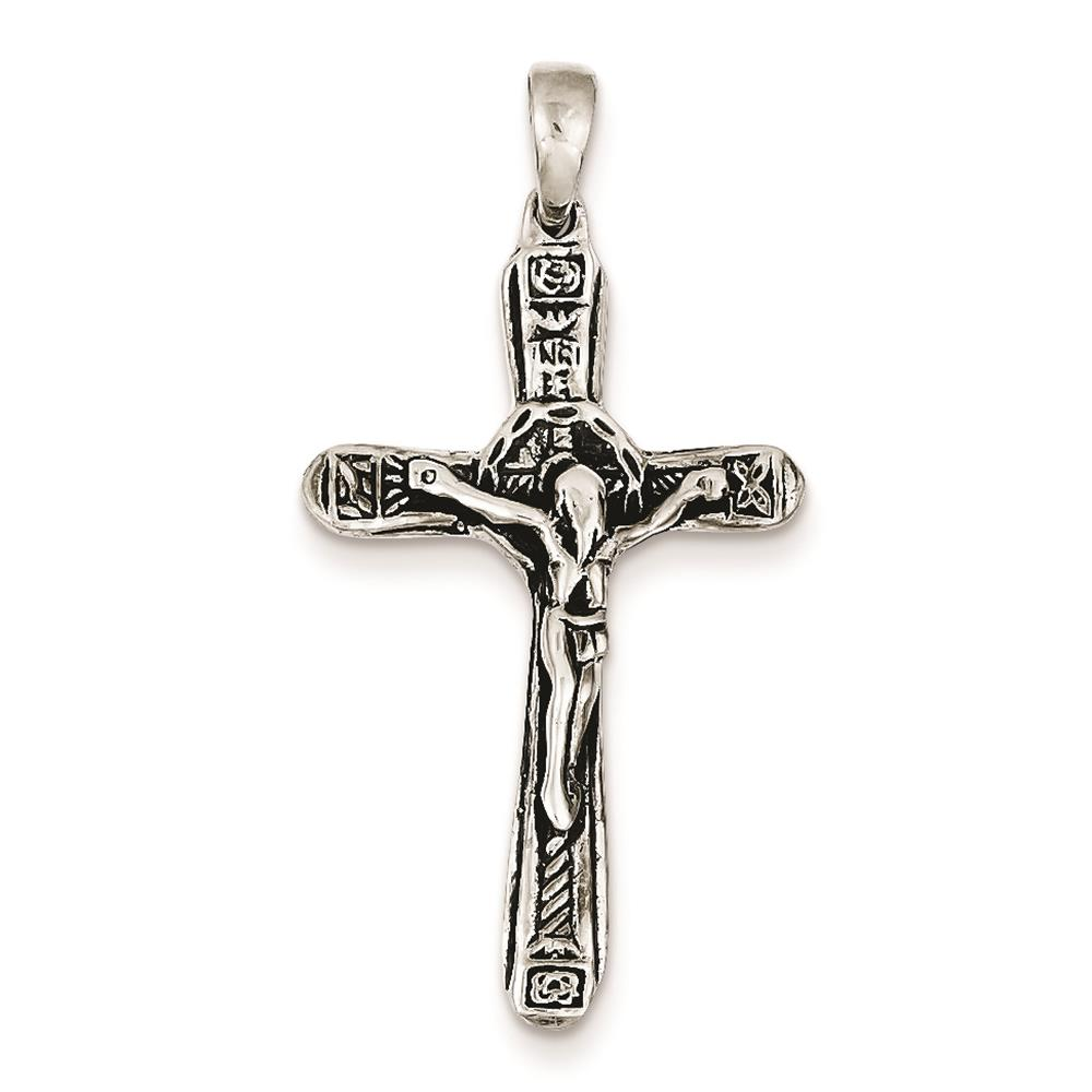 925 Sterling Silver Crucifix Antiqued Cross Polished Charm Pendant