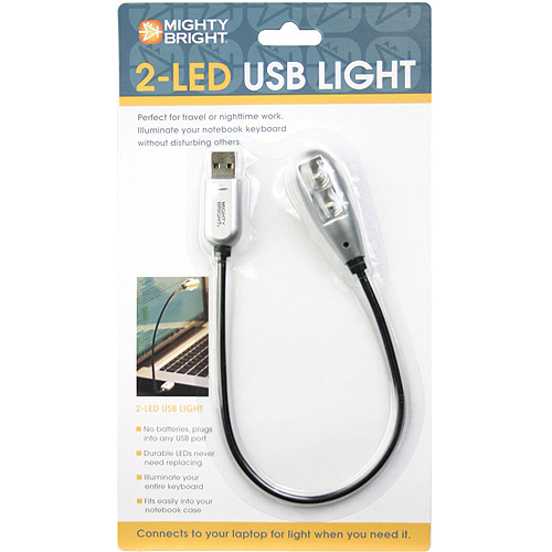 Mighty Bright 2, LED USB Light, Silver