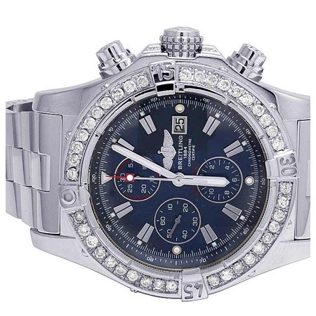 Breitling Custom Breitling A13370 Super Avenger Blue Dial Diamond Watch 4.5 Ct Custom Mens Breitling A13370 Super Avenger XL 48MM S.Steel Diamond Watch 4.5 Ct