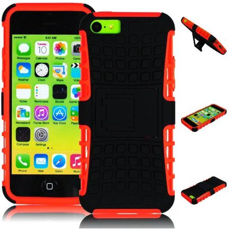 - Bastex Heavy Duty Rugged Hybrid Kickstand Case - Orange Soft Silicone Cover with Black Hard Protective Case for iPhone 5c