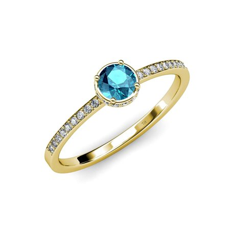 London Blue Topaz and Diamond (SI2-I1, G-H) Halo Engagement Ring 0.95 ct tw in 14K Yellow Gold.size (London Blue Topaz And Diamond Engagement Ring)
