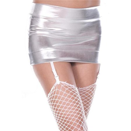 Music Legs 170-SILVER Mini Skirt with Attached Garters, Silver - image 1 of 1