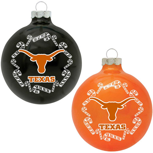 Topperscot NCAA Texas Longhorns Home and Away Glass Ornament Set, Set of 2