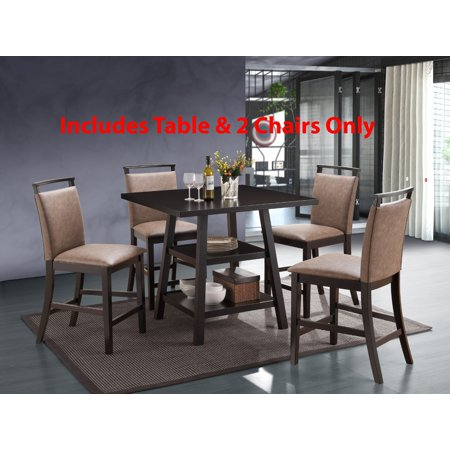3 piece cappuccino wood transitional counter height 40 inch square kitchen dinette dining table. Black Bedroom Furniture Sets. Home Design Ideas