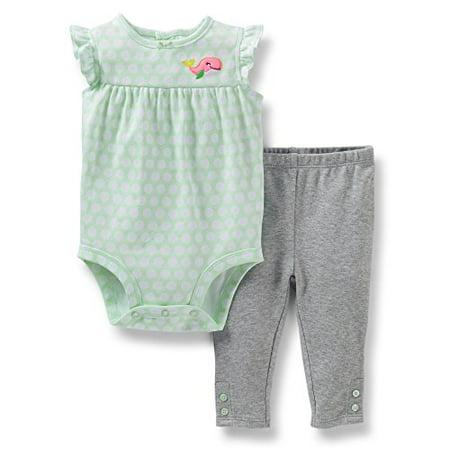 Carters Baby Girls Whale Bodysuit   Legging Set Grey Green 3 Mo