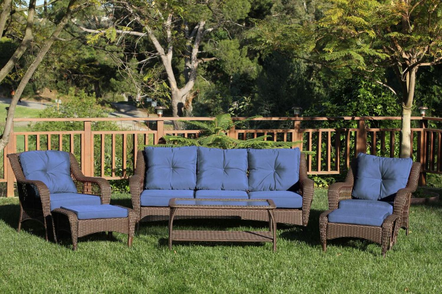 6-Piece Espresso Resin Wicker Outdoor Patio Seating Furniture Set Blue Cushions by CC Outdoor Living