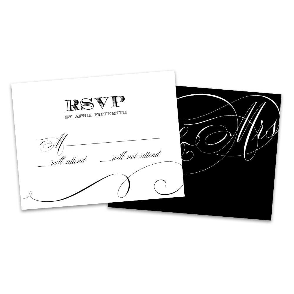 Personalized Black Script Wedding RSVP Cards