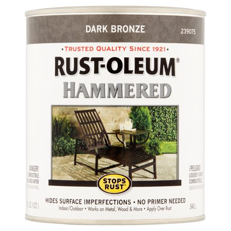 Rust-Oleum Stops Rust Dark Bronze Hammered Paint, 32 fl -