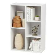 IRIS USA 5-Compartment Wood Organizer Bookcase Storage Shelf, White