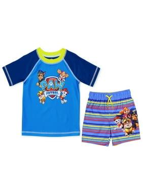 PAW Patrol Toddler Boys' Rash Guard and Swim Trunk Set - Multi/Stripe