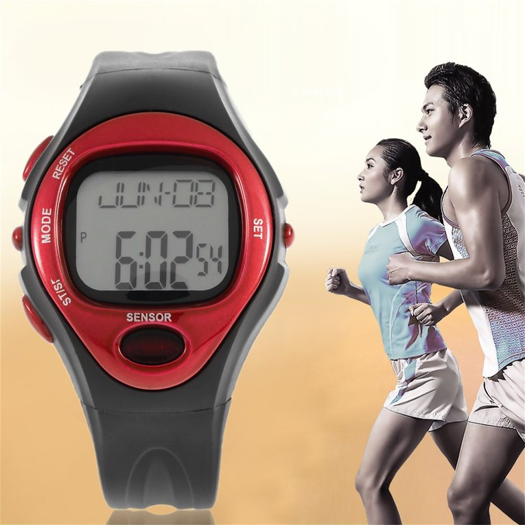 Pulse Heart Rate Monitor Calories Counter Fitness Watch Time Stop Watch Alarm