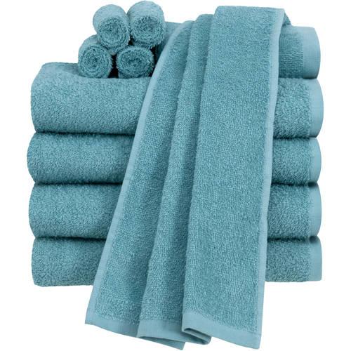 10 Pc Towel Set White Pink Blue Green Gray Cotton Bath ...