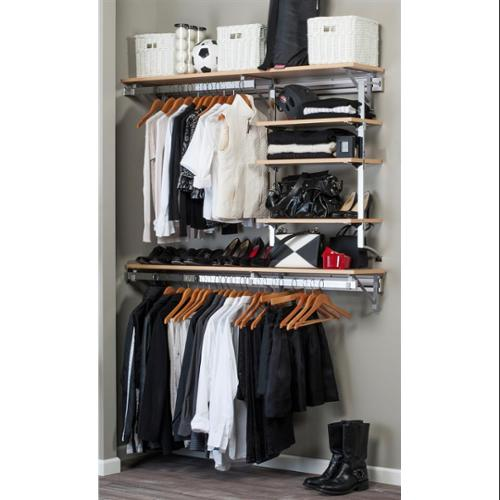 Closet System with Adjustable Shelves in Maple (60 in. W x 11.75 in. D x 84 in. H (89 lbs.))
