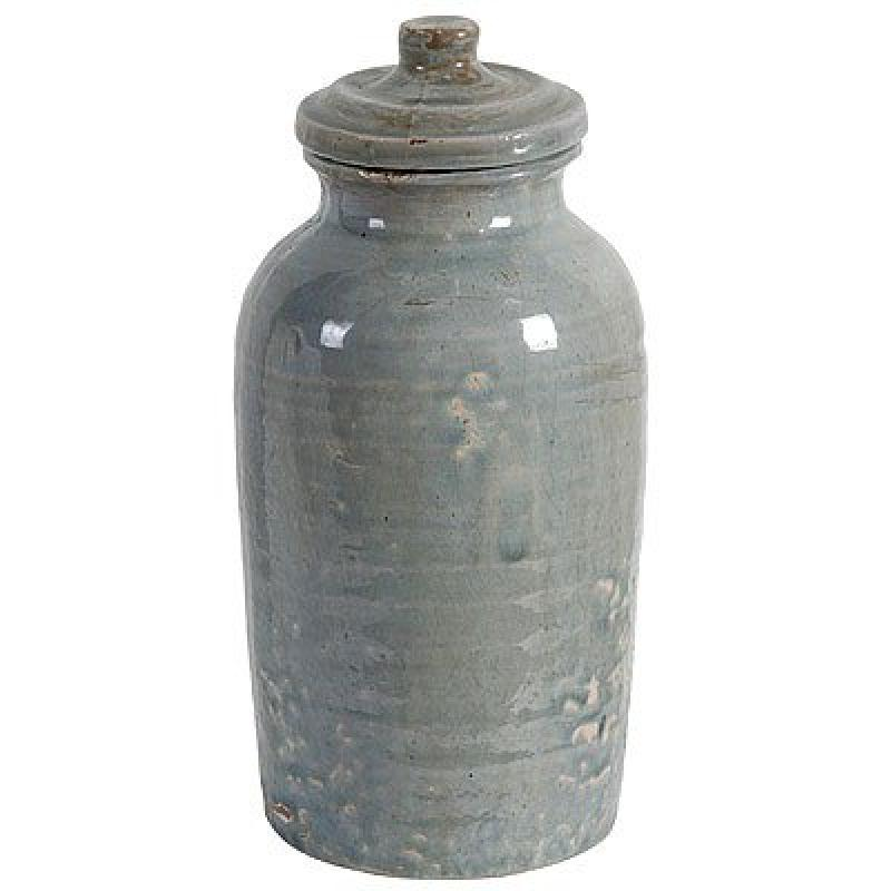 "Ceramic Lidded Jar Canister Blue 6x13"""
