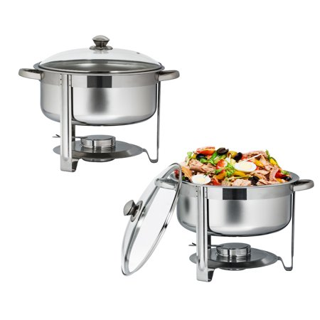 UBesGoo (Set of 2) 6.6Qt Stainless Steel Chafing Dish Complete Full Size Chafer Buffet Dish, for Catering Buffet Warmer Tray Kitchen Party Dining ()