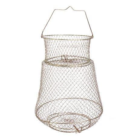 Unique Bargains 0.5  x 0.5 Metal 2 Layers Spring Design Fishing Landing Net Fish Basket Cage Shrimp Bronze Tone