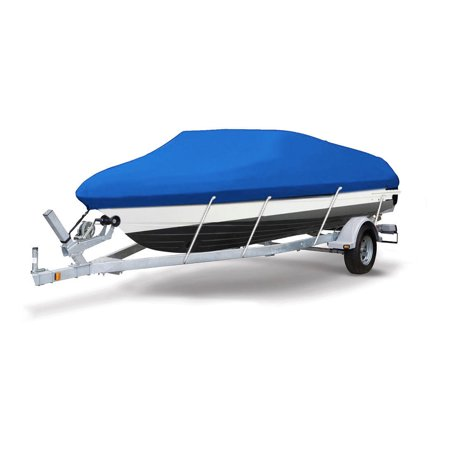 "Blue 210D Waterproof Trailerable Boat Cover Fit 14-16ft Beam 90"" V-Hull Fishing SKI Boat"