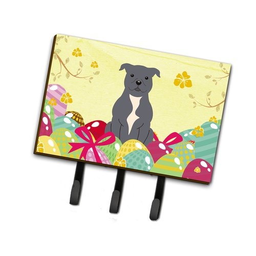 The Holiday Aisle Easter Eggs Staffordshire Bull Terrier Leash or Key Holder