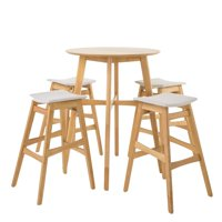 Simi Natural Oak Finish Circular 5 Piece Bar Height Dining Set