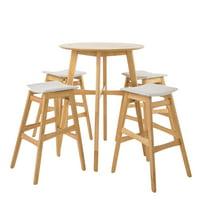 Simi Natural Oak Finish Circular 5 Piece Bar Height Dining Set