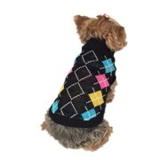 Colored Pets Puppy Teddy Dogs Argyle Sweater, Medium (Holiday Christmas Gift for Pet)