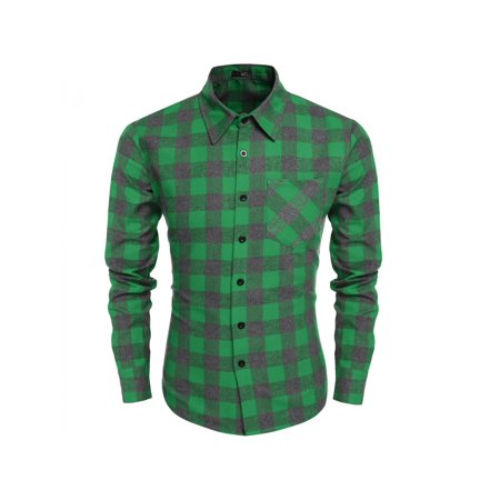Clearance for Christmas Men Plaid Long Sleeve Turnd own Neck Shirt on Sale (Hunter Clearance Sale)