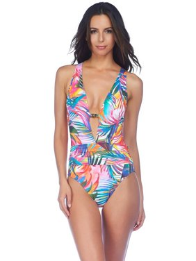 54e1ca45a8c Product Image Lauren Ralph Lauren Womens One Piece Swimsuit 16 Multi Color  Tropic Palm Halter