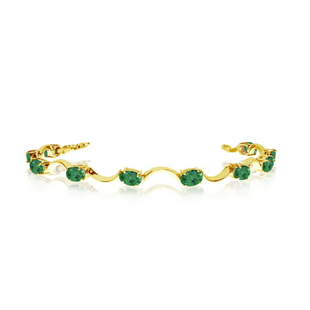 10K Yellow Gold Oval Emerald Curved Bar