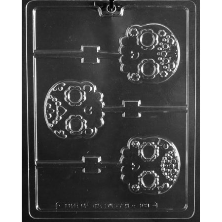 Grandmama's Goodies H183 Day of the Dead Skull Lollipop Halloween Chocolate Candy Soap Mold with Exclusive Molding Instructions](Jello Jiggler Molds Halloween)