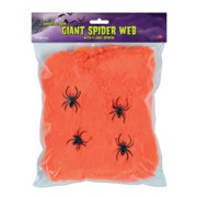 Club Pack of 12 Flame Resistant Giant Orange Halloween Spider Web with Spiders