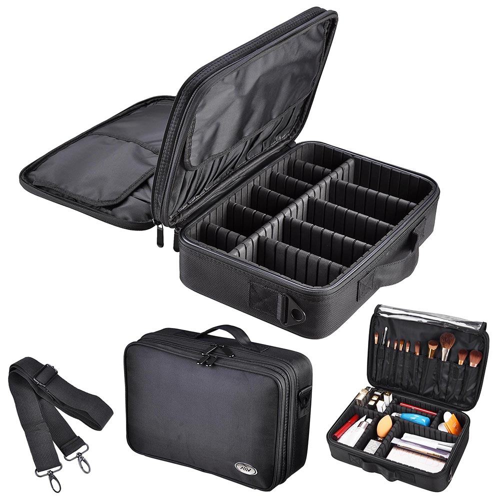 "AW 13"" 1200D Pro Oxford Makeup Train Case Artist Cosmetic Organizer Storage Bag with Adjustable Dividers & Strap"