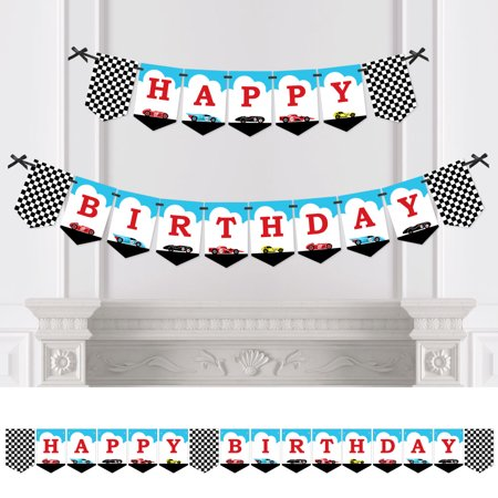 Let's Go Racing - Racecar - Birthday Party Bunting Banner - Race Car Birthday Party Decorations - Happy Birthday (Race Car Theme Decorations)
