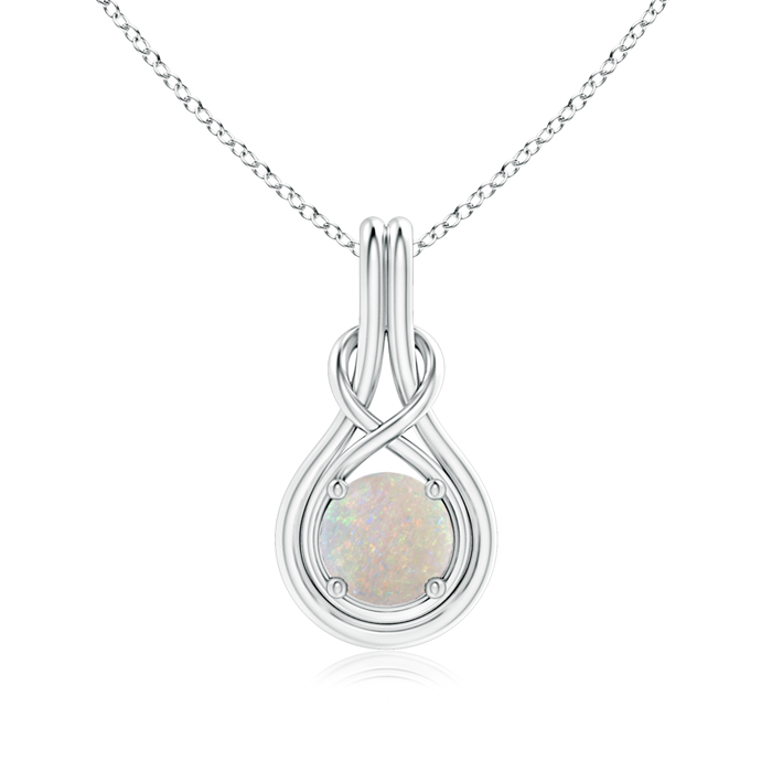 October Birthstone Pendant Necklaces Round Opal Infinity Knot Necklace in 4-Prong Setting in 950 Platinum (7mm Opal)... by Angara.com
