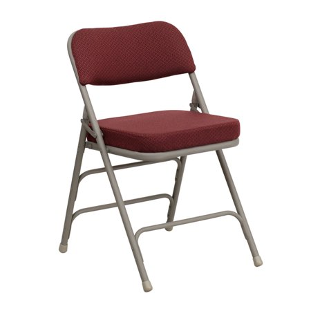 Offex Premium Curved Triple Braced & Double Hinged Burgundy Fabric Metal Folding Chair - 4 Pack Double Braced Saddle