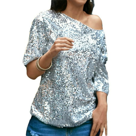 Women Bling Sequin Top Sparkle Glitter Tank Club Party T-Shirt Casual Blouse