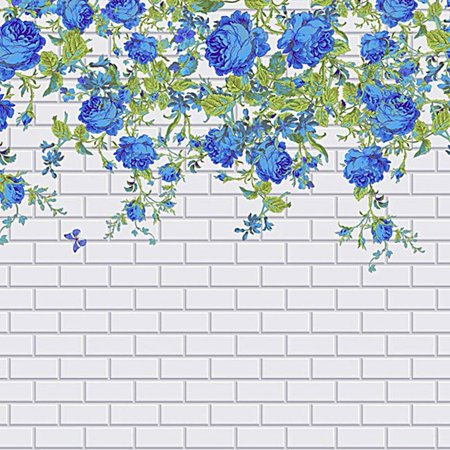 HelloDecor Polyester Fabric White Photography Backdrop Wall Paper 5x7ft Photo Background Blue Rose Flowers Background for Wedding Photo Booth ()