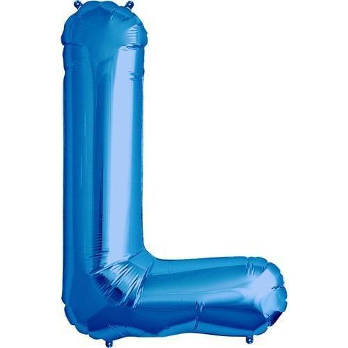 Letter L - Blue Helium Foil Balloon - 34 inch