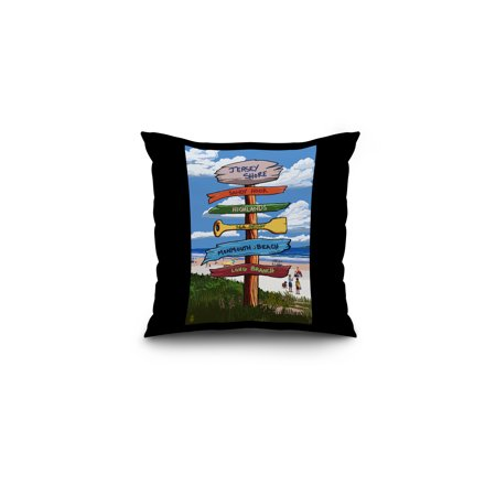 Jersey Shore - Signpost Destinations - Lantern Press Poster (16x16 Spun Polyester Pillow, Black Border)](Funny Jersey Shore)