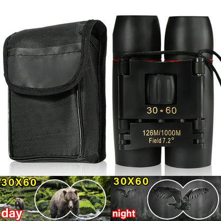 Day And Night Vision 30x60 126m/1000m Folding Binoculars Telescope w/ Strip&Bag For Hunting Camping Hiking Travel Bird