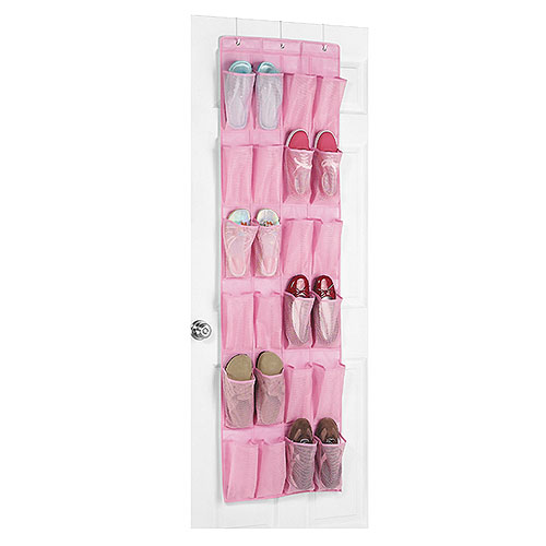 Whitmor 24-Pocket Over-the-Door Shoe Organizer, Pink