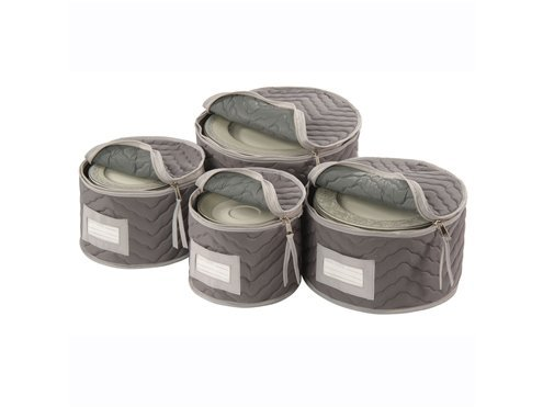 Richards Homewares 4 Piece Grey Micro Fiber Deluxe Plate Case by 3M