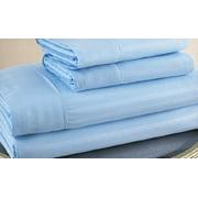 Queen Size Light Blue 500 Thread Count 100% Cotton Sateen Dobby Stripe Sheet Set