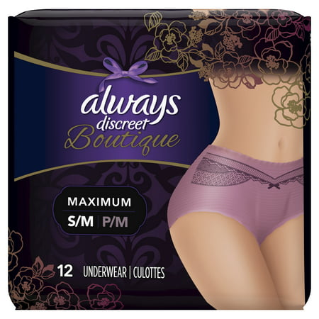 Always Discreet Boutique Max Protect Incontinence Underwear, Purple, S/M, 12 ct